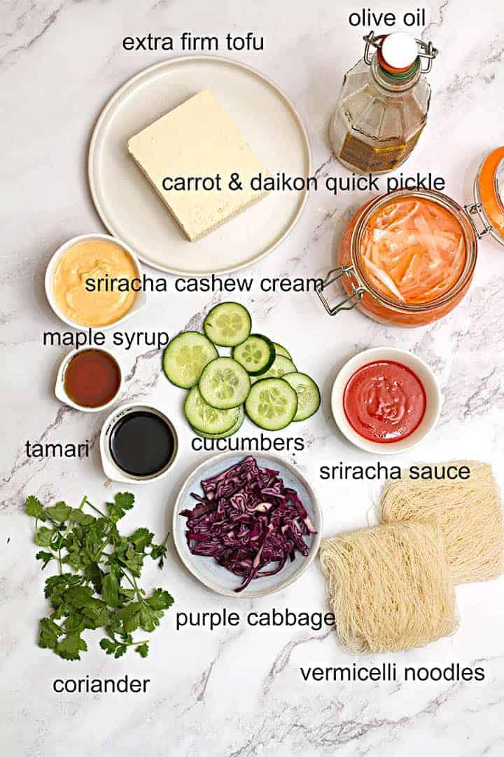 Vegan Bahn Mi Bowl ingredients