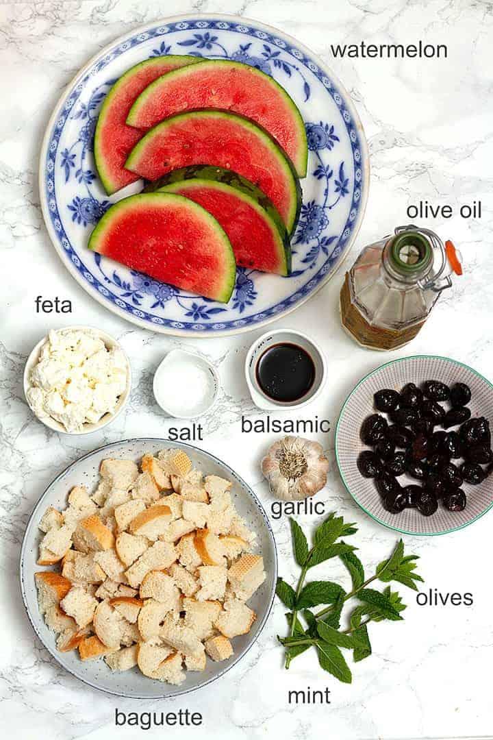 watermelon panzanella ingredients