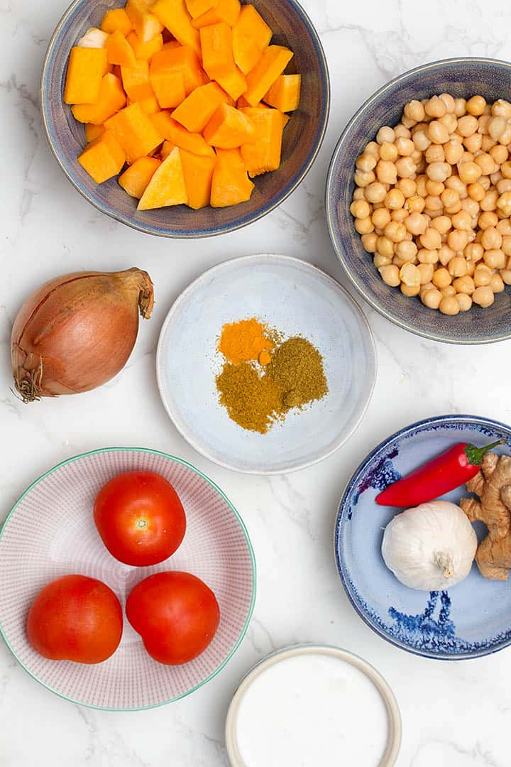 ingredients in Indian pumpkin curry