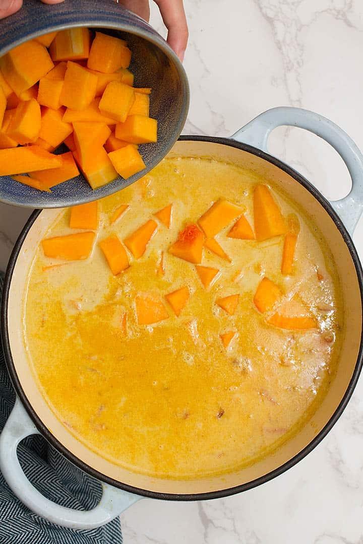 Adding pumpkin to pumpkin curry