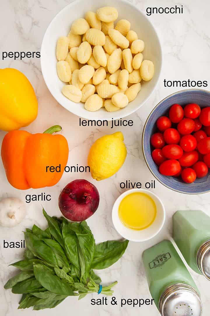 sheet pan gnocchi with roasted veg ingredients