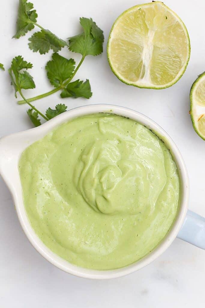 avocado crema for vegan taco bowl