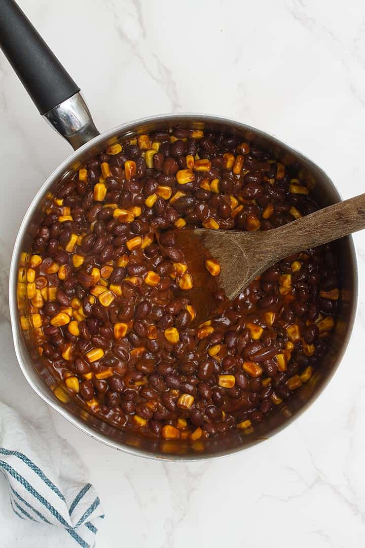 black beans and corn enchilada mixture