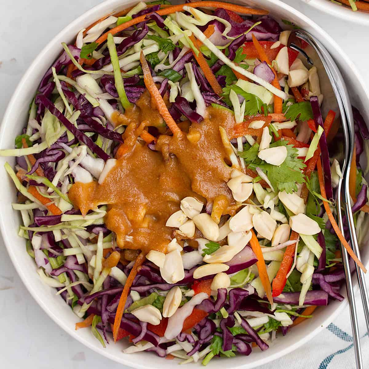 Asian coleslaw with peanut sauce