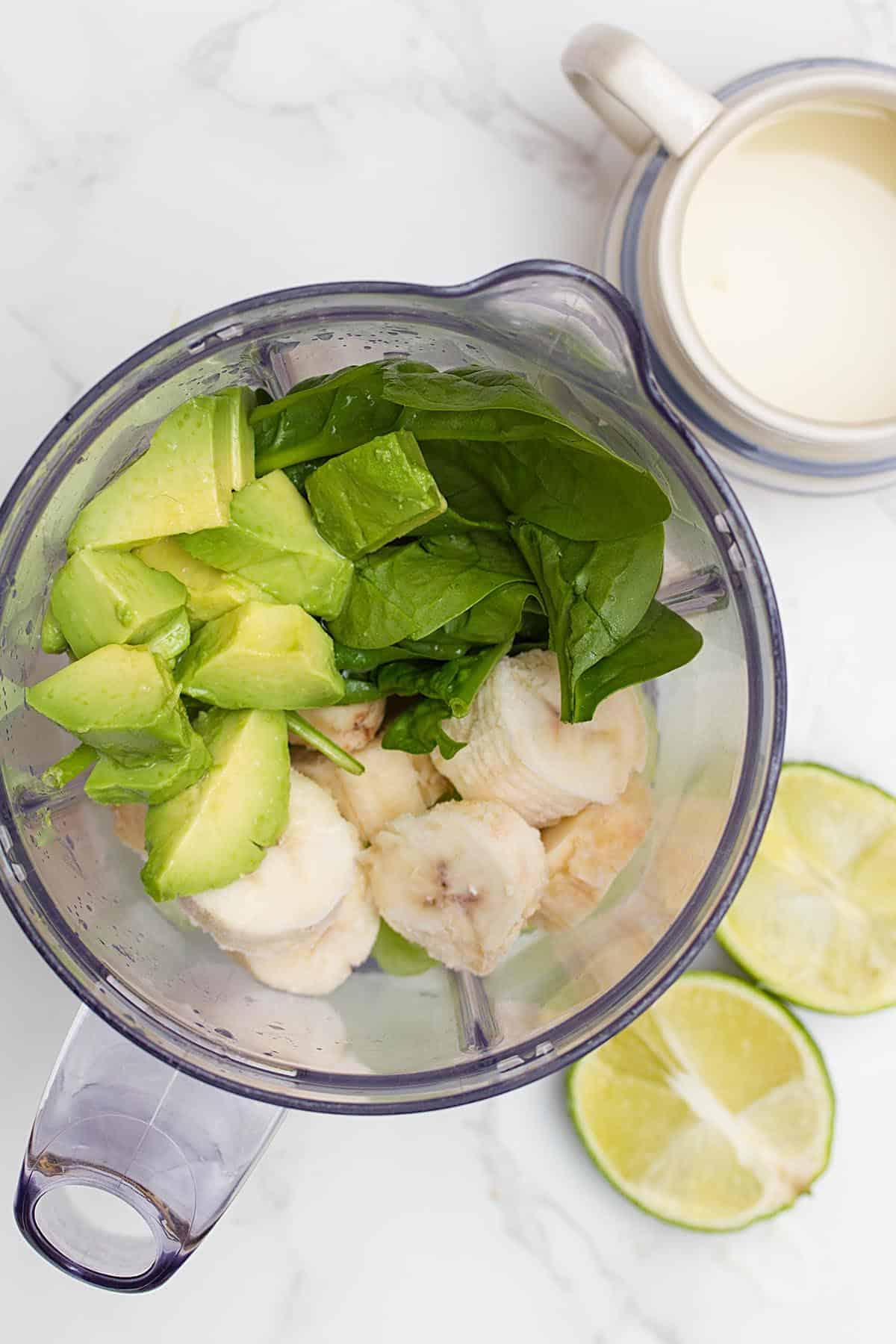 avocado and bananas in blender