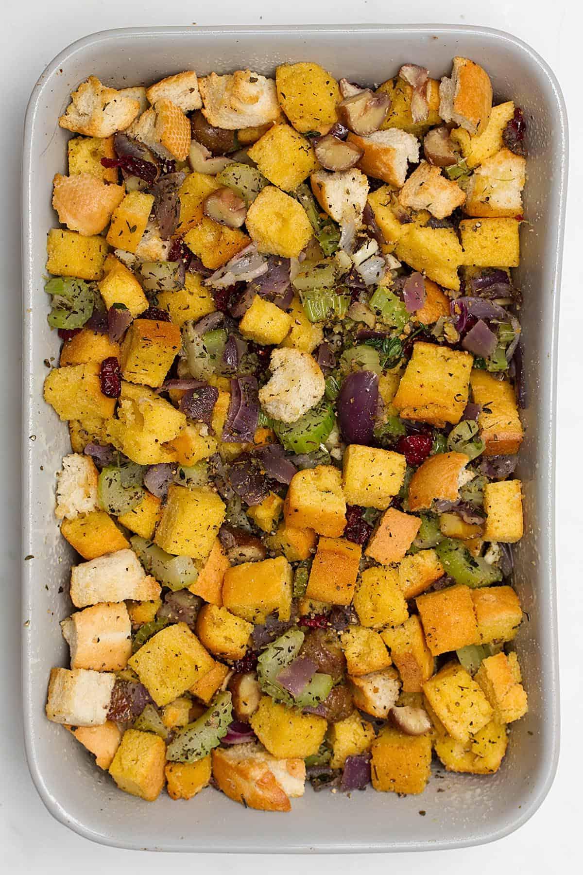 vegan cornbread dressing in pan