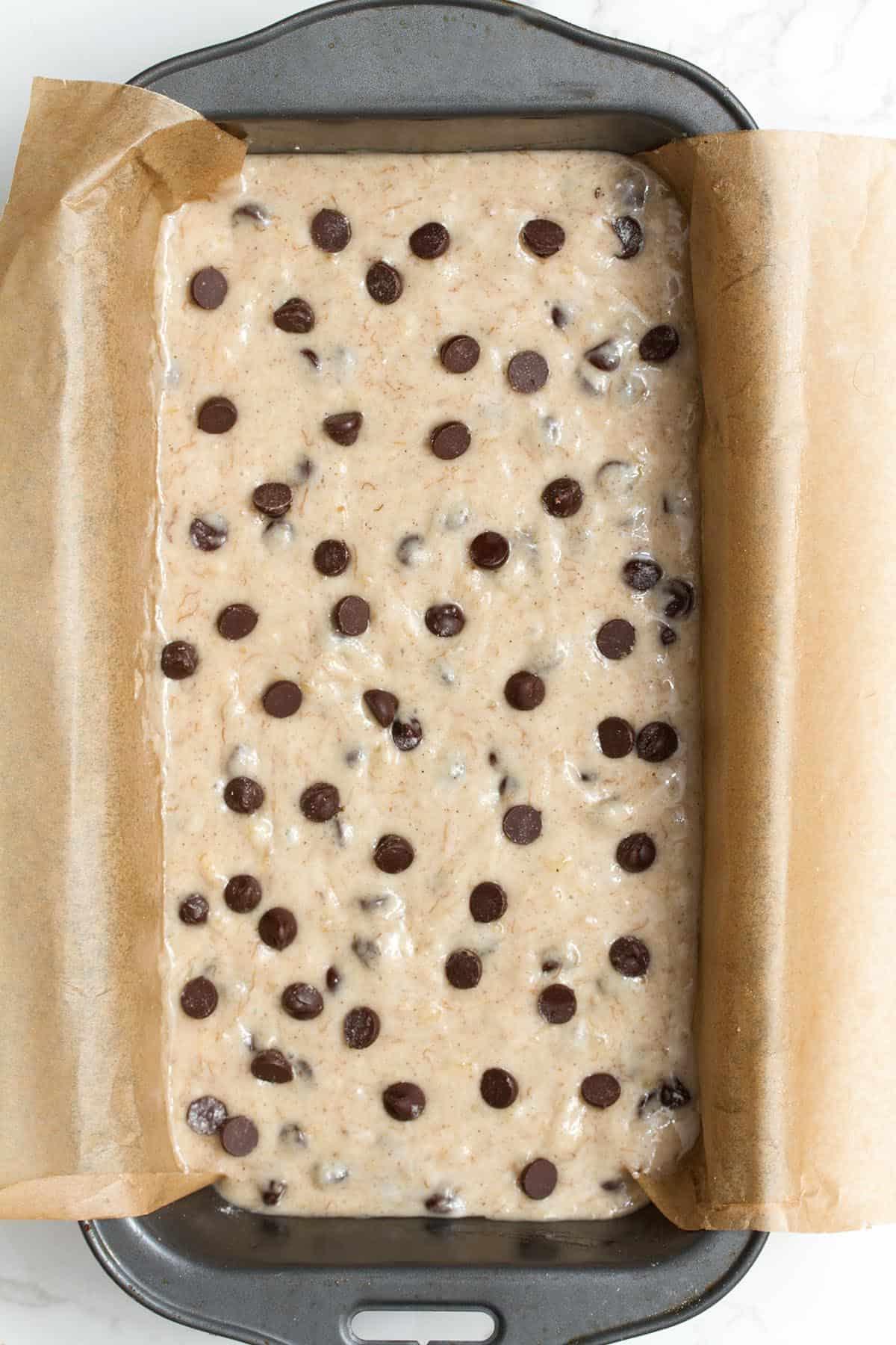 eggless chocolate chip banana bread
