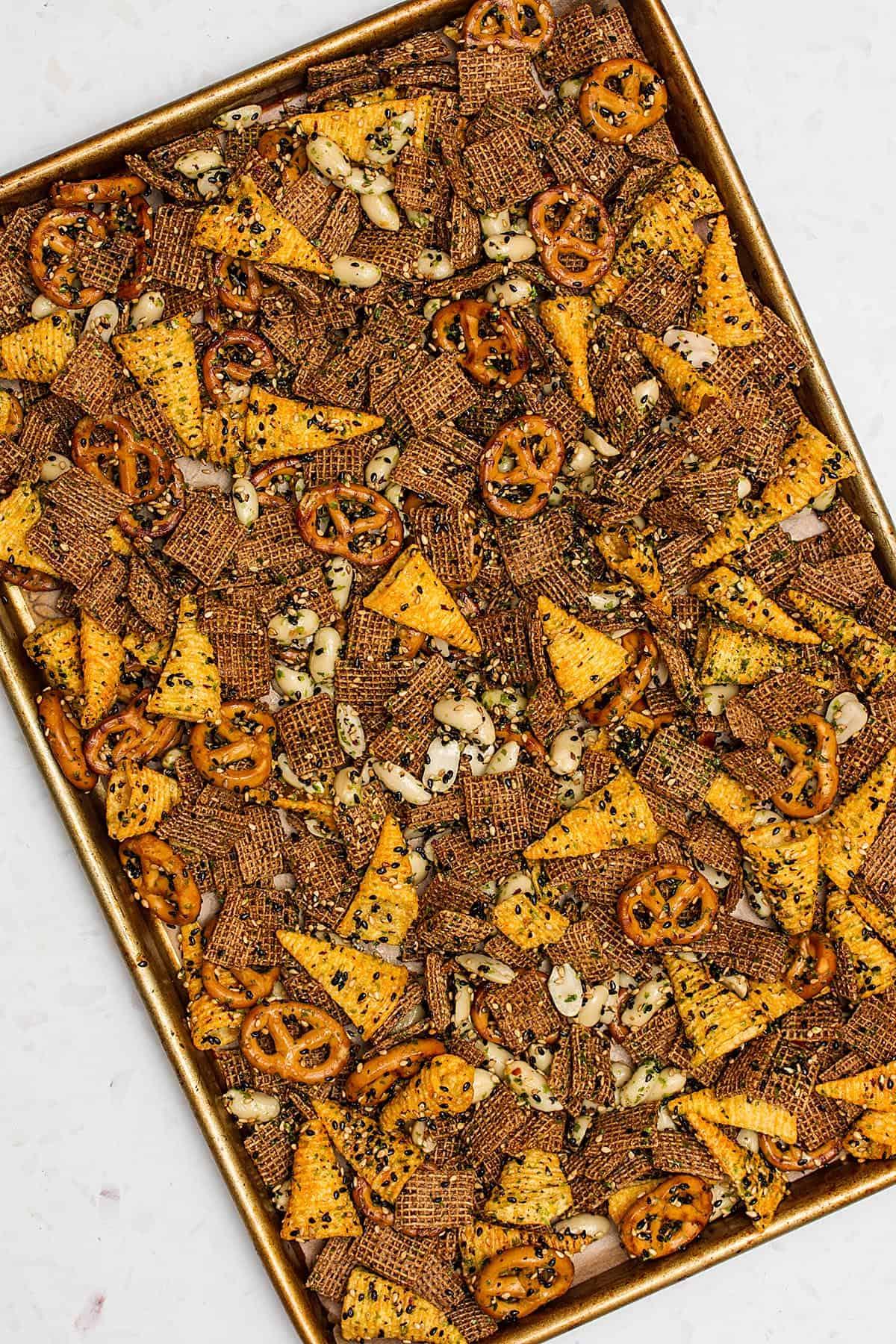 furikaki chex mix on baking tray