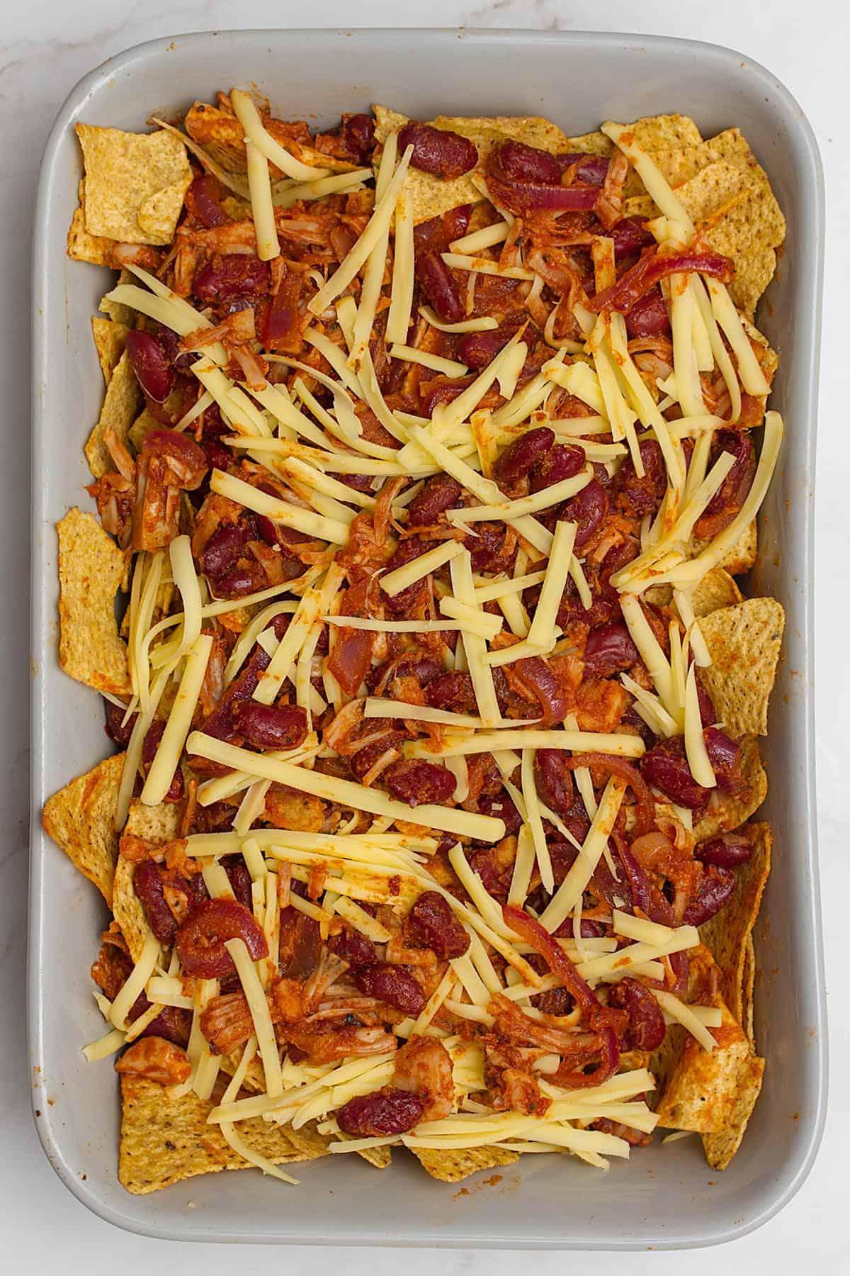 tortilla chips with bbq  jackfruit