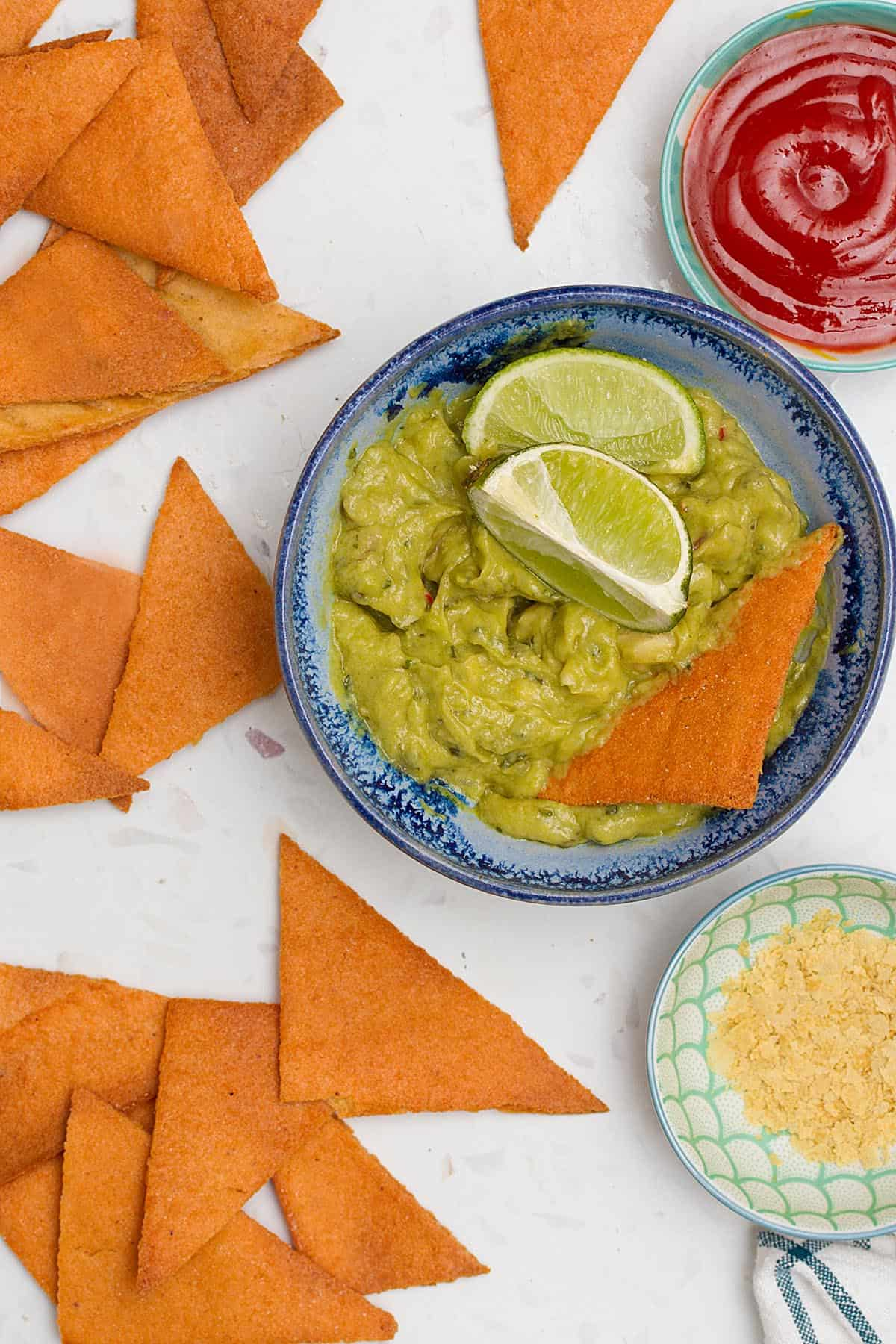 lentil chips with guacamole