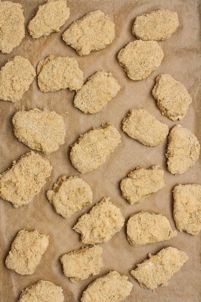 seitan chicken nuggets on tray